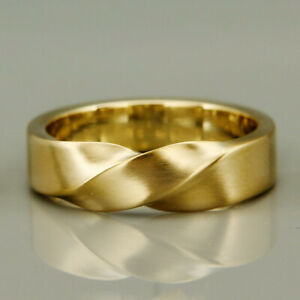 22 Kt Hallmark Real Solid Yellow Gold Mobius Wedding Band Men'S Ring Size 8,9,10