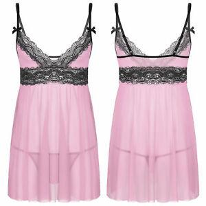 Men Sissy Lingerie Lace Mesh Dress Cross Dresser Babydoll Nightwear Sleepwear