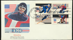 Fleetwood Cachet First Day Cover Se-Tenant Block #1795-98 WinterOlympicsLOT1435