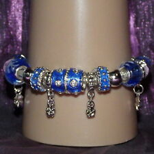 New 925 Sterling Silver Filled and Blue Enamel Fashion Charm Bracelet