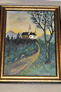 Antique Oil Canvas Folk Art CASTLE LANDSCAPE Painting By ARNOLD WITSCHI