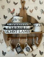 LAURA ASHLEY kitchen WALL SHELF shabby COTTAGE chic Wood CHOPPING BOARD w HOOKS