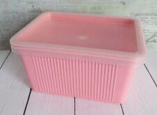 Vintage Pink Plastic Goody Box Hair Care Vanity Storage , Prop