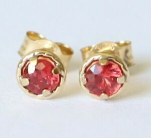 Genuine 9ct 9k 375 Yellow Gold NATURAL RED RUBY July Birthstone  Stud Earrings