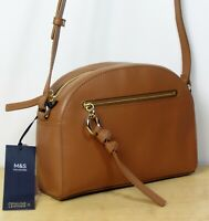 M&S Real LEATHER Small CRESCENT style CROSS BODY BAG in TAN / Camel (rrp £69)