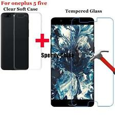 Anti-Scratch Tempered Glass Film+ Case Cover for OnePlus 5 five Screen Protector