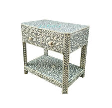 Handmade Bone Inlay grey Floral Bedside Table