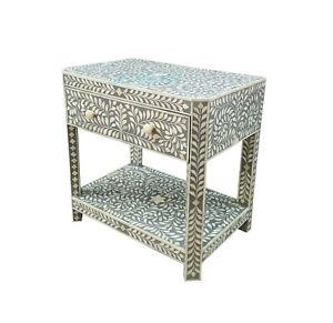 Handmade Bone Inlay grey Floral Bedside Table