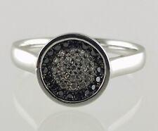 14k White Gold White and Black Diamond Circle Ring