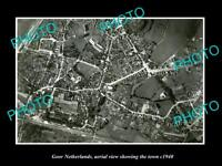 OLD LARGE HISTORIC PHOTO GOOR NETHERLANDS HOLLAND TOWN AERIAL VIEW c1940