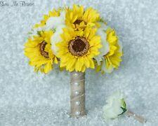 Sunflower Rose Baby's Breath Rustic Burlap Pearl Bride Groom Wedding Bouquet Set