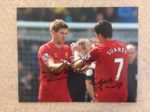 Genuine Signed Liverpool Picture By Steven Gerrard & Luis Suarez