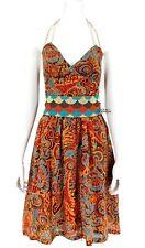 Anthropologie Beaded Belt Halter Dress SZ 0 Boho Paisley Gypsy Retro Mod