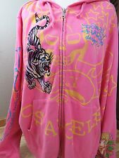 ED HARDY CHRISTIAN AUDIGIER Women's Hoodie Pink Tiger Los Angeles Size 3X XXXL