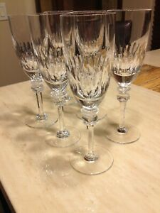 "Set of 6 Antique Crystal Champagne Long Stem Glasses Mint 9"" Unsigned"