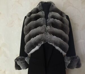 Fur Chinchilla Collar,Scarf,Wrap,cuffs.Not Mink;Sable;Lynx.for a jacket or coat