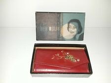 Vintage Rolfs for Her Women Key Wallet Genuine Leather Red W/ Butterfly
