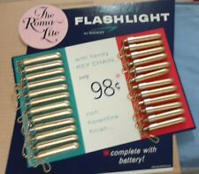 Vtg Penlight Flashlight 24pc  DISPLAY BOARD mint NOS 60's + 24 Eveready Batterys