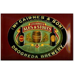 CAIRNES AND SON ALES:EMBOSSED 3D METAL ADVERTISING SIGN 30x20cm DROGHEDA IRELAND
