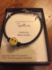 Hallmark black smiling emoji add a bead bracelet NEW