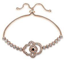 Rose Gold Tone over Sterling Silver Blue CZ Hamsa Evil Eye Adjustable Bracelet