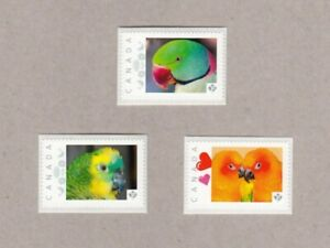cp. PARROTS = set of 3 Picture Postage stamps Canada 2017 [p17-02pt3]