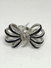 New Stephen Webster Sterling Silver Big Bow Black Enamel White Diamond Pave Ring