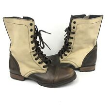 Steve Madden Cameronn Leather Zip Lace Combat Boots Womens Size 8.5