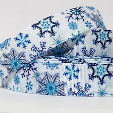 "GROSGRAIN RIBBON 7/8"" BLUE SNOWFLAKES MAGIC T23 Christmas FALL PRINTED US SELLER"