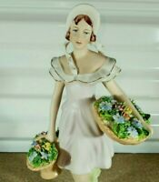 "Antique Royal Dux Porcelain Figurine, FLOWER SELLER, 10.5"" H."