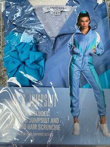 Ladies 80s 90s Shell Suit Jumpsuit Retro Fancy Dress Blue Tracksuit Szs 8 to 14