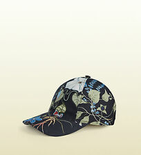 GUCCI Baseball Cap Hat Flora Knight Canvas Leather Floral Black 372689 M Medium