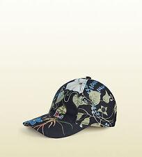 GUCCI Baseball Cap Hat Flora Knight Canvas Leather Floral Black 372689 M Medium