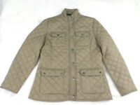 LOUIS FERAUD  Quilted padded zip snap Womens Beige green Jacket coat Size 14
