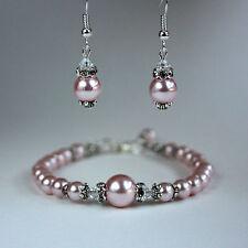 Pink blush vintage pearl crystal bracelet earrings wedding bridal silver set