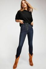 Free People CRVY High-Rise Lace-Up Skinny Jeans. Blue Honey. W 29. RRP £88