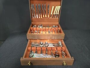DOUBLE SET Oneida Community Stainless Flatware with Wooden McGraw Silver Chest