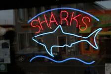 "Sharks Fish Seafood Neon Light Sign 24""x20"" Beer Bar Decor Lamp Glass"