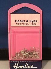 Hemline Hook & Eyes Nickel Small 14 Sets