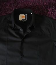 Stunning 100% Genuine Hugo Boss Orange Label 'ColombiaE' Black Shirt In Large