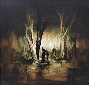 "Oil Painting Bill Beavan ""Swampland Birds"" Oil on Board Signed Lower Right"