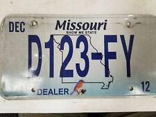2012 MISSOURI Show Me State Dealer License Plate D123-FY