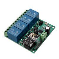 12V ESP8266 Four Ways WiFi Relay IOT Smart Home Cepphone APP Remote Control K4Z6