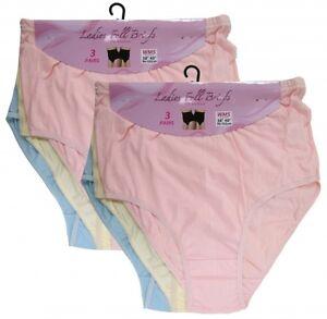 """Ladies Girls 100% Cotton Plain Full Maxi Mama Briefs Everyda Comfort 38""""-40"""" Hip"""