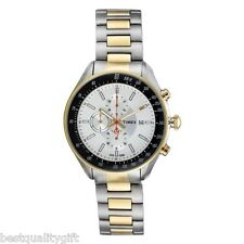 NEW TIMEX TWO-TONE S/STEEL CHRONOGRAPH WHITE DIAL MENS WATCH-T2N155