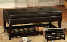 17''H Antique Looking Leather Top BENCH with Storage and Shelf - ESPRESSO-ASDI