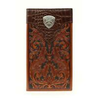 Ariat Rodeo Checkbook Floral Tooled Tan Mens Western Wallet Brown