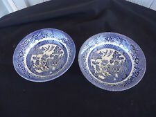 churchill china 2 blue willow pattern cereal bowls england