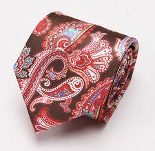 NWT $230 BRIONI Slim Satin Silk Tie Chocolate Brown-Red Intricate Paisley Print