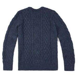 Unisex Authentic British Wool Arran Jumper - Made in Great Britain (Navy)XL